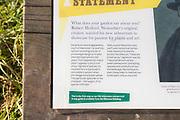 Information panel Cappadocian maple tree, acer cappadocicum, National arboretum, Westonbirt arboretum, Gloucestershire, England, UK