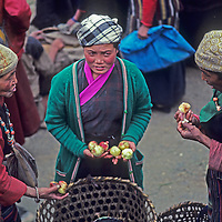 Sherpas women (Sherpanis) shop for apples from lowland people who have carried big loads for several days to the weekly Saturday market in Namche Bazaar, the leading Sherpa town of Nepal's Himalaya.