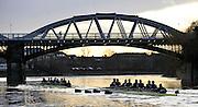 "Putney, GREAT BRITAIN, ""Hell"" leads ""High Water"" as both crews approach Barnes Rail Bridge, during the  2011  Varsity Trial Eights,  raced over the championship course. Putney to Mortlake,  Tuesday  Putney, GREAT BRITAIN, Oxford UBC, {OUBC} Trial Eights Race  2011  Varsity Trial Eights raced over the championship course. Putney to Mortlake,  Tuesday  13.12.2011  [Mandatory Credit, Peter Spurrier/Intersport-images]..Crews. .NAME OF BOAT: ""High Water"" Surrey Station.Bow: Julian Bubb-Humfryes.2: Geordie Macleod.3: Justin Webb.4: Hanno Wienhausen.5: Kevin Baum.6: Alexander Davidson.7: Alexander Woods.Stroke: Tom Watson.Cox: Zoe De Toledo..NAME OF BOAT: ""Hell"" Surrey Station.Bow: Thomas Hilton.2: Chris Fairweather.3: Charlie Auer.4: Ben Snodin.5: Karl Hudspith.6: William Zeng.7: Dan Harvey.Stroke: Roel Haen.Cox: Oskar Zorrilla. [Mandatory Credit, Peter Spurrier/Intersport-images]..Crews. .NAME OF BOAT: ""High Water"" Surrey Station.Bow: Julian Bubb-Humfryes.2: Geordie Macleod.3: Justin Webb.4: Hanno Wienhausen.5: Kevin Baum.6: Alexander Davidson.7: Alexander Woods.Stroke: Tom Watson.Cox: Zoe De Toledo..NAME OF BOAT: ""Hell"" Surrey Station.Bow: Thomas Hilton.2: Chris Fairweather.3: Charlie Auer.4: Ben Snodin.5: Karl Hudspith.6: William Zeng.7: Dan Harvey.Stroke: Roel Haen.Cox: Oskar Zorrilla."