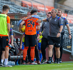 Inverness Caledonian Thistle's manager John Robertson and Dundee United's Lawrence Shankland at the end. Dundee United 4 v 1 Inverness Caledonian Thistle, first Scottish Championship game of season 2019-2020, played 3/8/2019 at Tannadice Park, Dundee.