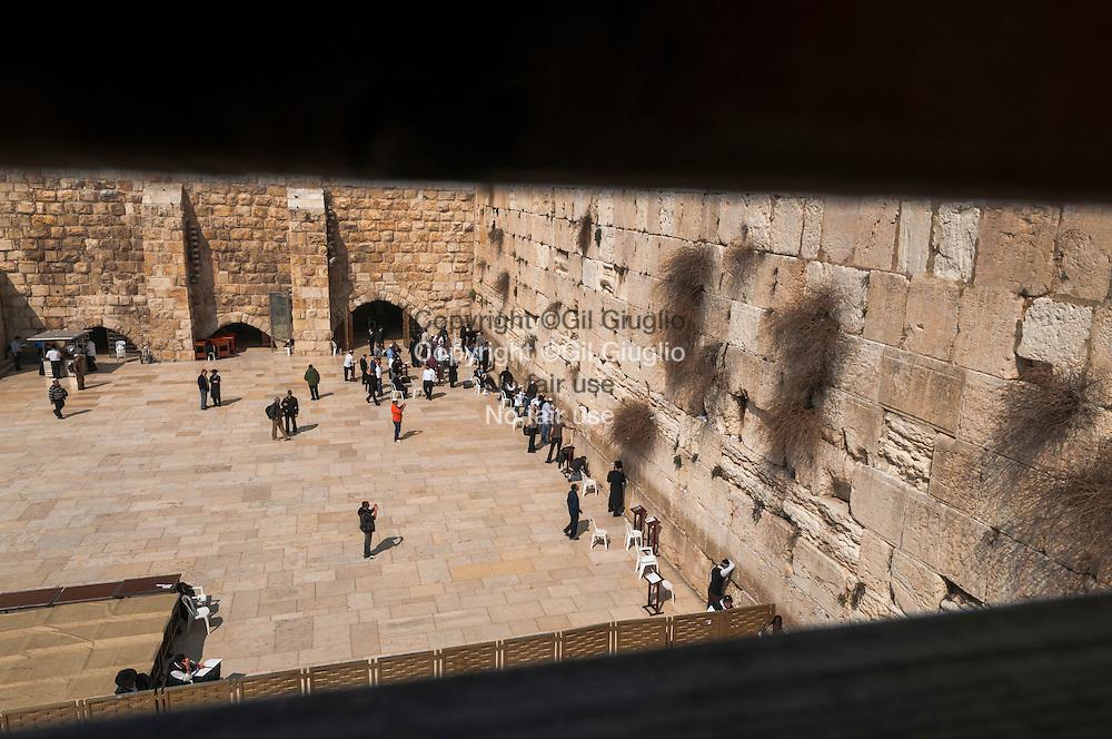 Israel, Jérusalem, vieille ville classé au patrimoine mondial de l'Unesco, esplanade et Mur des Lamentations dans la partie juive // Israel, Jerusalem, old city at the world patrimony heritage of Unesco, esplanade and Walling Wall in the jude part