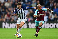 Hal Robson-Kanu of West Bromwich Albion battles with Andre Ayew of West Ham United. Premier league match, West Bromwich Albion v West Ham United at the Hawthorns stadium in West Bromwich, Midlands on Saturday 16th September 2017. pic by Bradley Collyer, Andrew Orchard sports photography.
