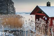 Vass vinteroch  is vid Ällmorafjärden i Stockholms skärgård