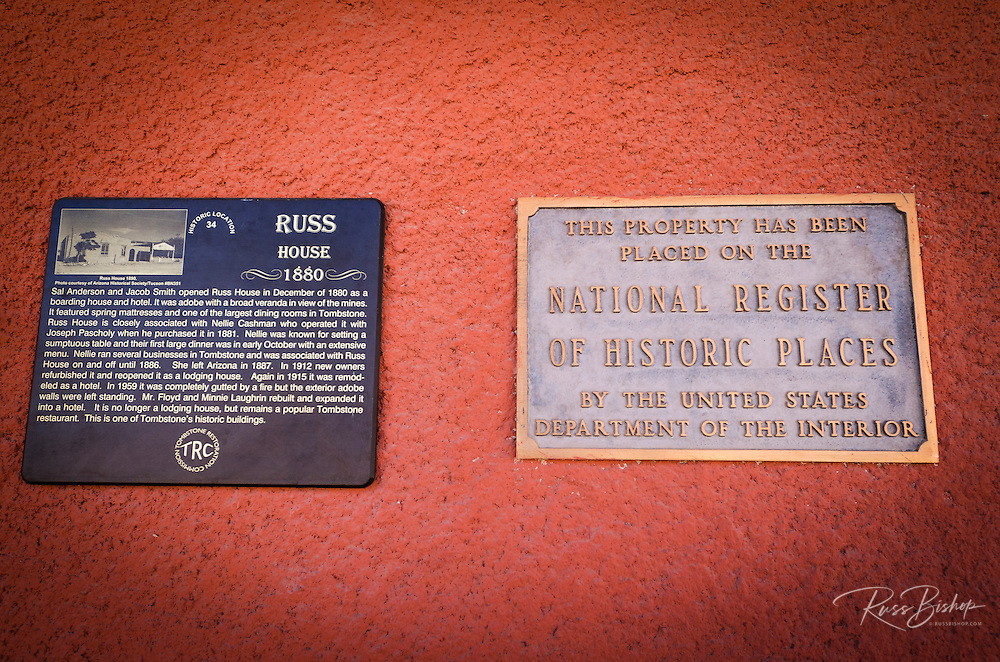 Historic plaque at the Russ House (1880), Tombstone, Arizona USA