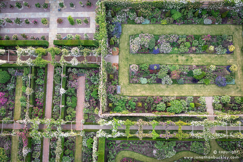 Aerial view of The Pergola Pathway, Lion Garden and Long Garden at The David Austin Rose Gardens