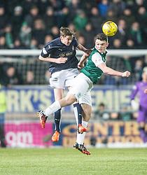 Falkirk's Conor McGrandles and Hibernian's John McGinn. <br /> Falkirk 1 v 1 Hibernian, Scottish Championship game played 17/1/2015 at The Falkirk Stadium.