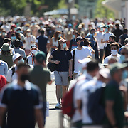 PARIS, FRANCE June 1.  Spectators on the walkway between stadiums at the 2021 French Open Tennis Tournament at Roland Garros on June 1st 2021 in Paris, France. (Photo by Tim Clayton/Corbis via Getty Images)
