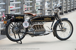 Byrne Bramwell's 4-cylinder Mark Hill restored 1913 Henderson class-2 bike before the start of the Motorcycle Cannonball Race of the Century Run. Atlantic City, NJ, USA. September 9, 2016. Photography ©2016 Michael Lichter.