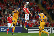 Andy King of Wales (c) in action.Wales v Moldova , FIFA World Cup qualifier at the Cardiff city Stadium in Cardiff on Monday 5th Sept 2016. pic by Andrew Orchard, Andrew Orchard sports photography
