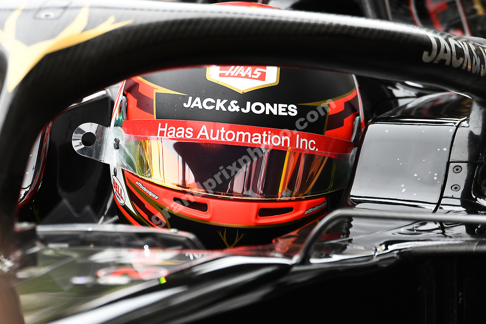 Kevin Magnussen (Haas-Ferrari) in the pits with his helmet on during practice before the 2019 Monaco Grand Prix. Photo: Grand Prix Photo