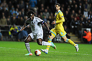 Swansea city's Wilfried Bony in action. UEFA Europa league match , Swansea city v Napoli at the Liberty Stadium in Swansea, South Wales on Thursday 20th Feb 2014. pic by Andrew Orchard, Andrew Orchard sports photography.