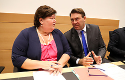 August 9, 2017 - Brussels, BELGIUM - Minister of Health and Social Affairs Maggie De Block and Minister of SMEs, Entrepreneurs, Agriculture and Social Integration Denis Ducarme a hearing of the parliamentary commission for agriculture and public health, at the federal parliament, in Brussels, Wednesday 09 August 2017. The commission will discuss the fipronil contaminated, millions of eggs have been pulled from shops in Belgium, the Netherlands and Germany as fipronil was detected in samples. Insecticide fipronil is used to destroy lice and ticks, but it's forbidden for use with animals intended for human consumption...BELGA PHOTO VIRGINIE LEFOUR (Credit Image: © Virginie Lefour/Belga via ZUMA Press)