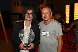 L-R : Lebanese film director Ziad Doueiri poses with Egyptian billionaire Naguib Sawiris at the end of Variety Award prize ceremony, in El Gouna, Egypt, on September 24, 2017, on the third day of El Gouna Film Festival. Photo by Balkis Press/ABACAPRESS.COM