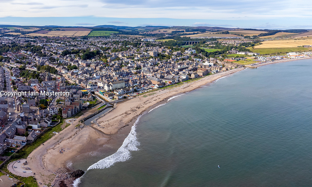 Aerial view from drone of seafront beach at Stonehaven in Aberdeenshire, Scotland, UK