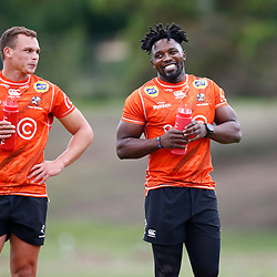 Curwin Bosch of the Cell C Sharks with Lwazi Mvovo of the Cell C Sharks during the Cell C Sharks training session from theBox Hill Rugby Union Football Club  RHL Sparks Reserve, Canterbury Rd & Middleborough Road, Box Hill VIC 3128. Melbourne,Australia 20 February 2020. (Photo Steve Haag Sports -Hollywoodbets)
