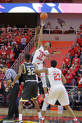 14 January 2017:  Phil Fayne(10) owns the opening tip during an NCAA  MVC (Missouri Valley conference) mens basketball game between the Wichita State Shockers the Illinois State Redbirds in  Redbird Arena, Normal IL