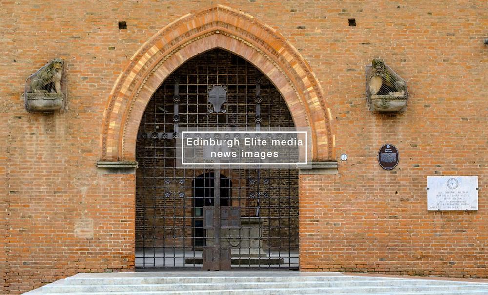 Entrance gate to the Palazzo Re Enzo, in Bologna, Italy<br /> <br /> (c) Andrew Wilson   Edinburgh Elite media