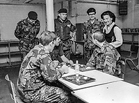 Coleeen Rees, wife, N Ireland Secretary of State, visiting troops in their quarters in West Belfast, during the Troubles, 16th August 1974. This particular visit was to the Broadway army post at the Royal Victoria Hospital. 197408160446b<br /><br />Copyright Image from Victor Patterson, 54 Dorchester Park, <br />Belfast, UK, BT9 6RJ<br /><br />t: +44 28 9066 1296 (from Rep of Ireland 048 9066 1296)<br />m: +44 7802 353836<br /><br />victorpattersonbelfast@gmail.com<br /><br />Please see my Terms and Conditions of Use at victorpatterson.com. It is IMPORTANT that you familiarise yourself with them.<br /><br />Images used on the Internet incur an additional cost and must be visibly watermarked i.e. © Victor Patterson within the body of the image and copyright metadata must not be deleted. Images used on the Internet have a size restriction of 4kbs and are chargeable at rates available at victorpatterson.com.<br /><br />This image is available only for the use of the download recipient i.e. television station, newspaper, magazine, book publisher, etc, and must not be passed on to any third party. It is also downloaded on condition that each and every usage is notified within 7 days to victorpattersonbelfast@gmail.com<br /><br />The right of Victor Patterson (or the named photographer) to be identified as the author is asserted in accordance with The Copyright Designs And Patents Act (1988). All moral rights are asserted.