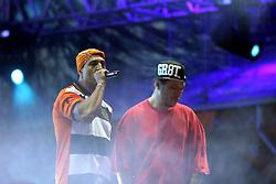 Chorão e Mano Brown durante show do Racionais MC's  no Planeta Atlântida 2013/SC, que acontece nos dias 11 e 12 de janeiro no Sapiens Parque, em Florianópolis. FOTO: Jefferson Bernardes/Preview.com