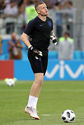 England goalkeeper Jordan Pickford warming up before the FIFA World Cup Group G match at The Volgograd Arena, Volgograd.
