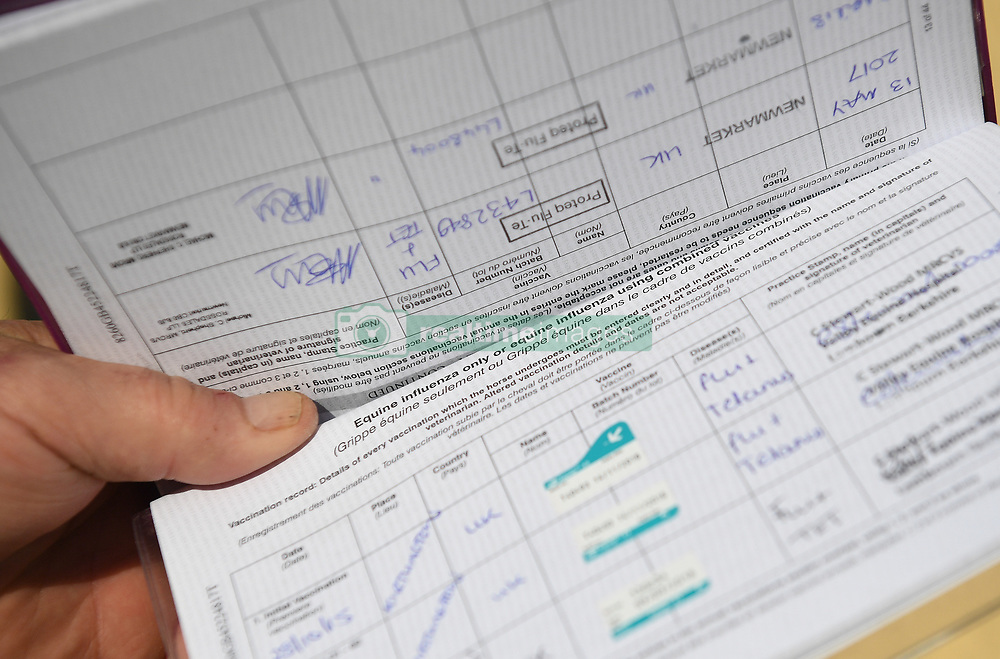 A horse passport showing equine flu vaccinations at the yard of trainer Philip 'Charlie' McBride in Newmarket.