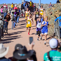 Navajo Pine Warrior Terrence Lee struggles to hold on to his second-place position midway through the boys 1-2A race in the New Mexico State meet at Rio Rancho High School Saturday