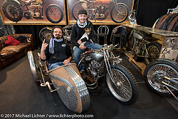 Samuele Reali and Davide (in sidecar) of Abnormal Cycles in Bernareggio with their unfinished Flathead and sidecar at Motor Bike Expo. Verona, Italy. Friday January 20, 2017. Photography ©2017 Michael Lichter.