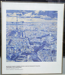 October 4, 2018 - Kyiv, Ukraine - A Bird's-Eye View of Paris is a 2017 drawing by Ukrinform's Paris-based correspondent Roman Sushchenko made in Russia's Lefortovo Prison with ink and onion skins showcased at the Ukrainian National News Agency Ukrinform as part of the Art From Behind Bars exhibition, Kyiv, capital of Ukraine, October 4, 2018. As reported, Roman Sushchenko was illegally detained on September 30, 2016 in Moscow while on a private trip. On October 7, 2016, he was charged with ''espionage''. Russia's FSB said that Sushchenko was a member of the Main Intelligence Directorate of the Ukrainian Defence Ministry. The latter denied this allegation. On June 4, the Moscow City Court sentenced Roman Sushchenko to 12 years in a high-security prison for alleged espionage. The Supreme Court of Russia upheld the verdict on September 12. Ukrinform. (Credit Image: © Pavlo_bagmut/Ukrinform via ZUMA Wire)