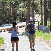 Runners take advantage of the miles long Lakes Basin path, part of the Mammoth Trail System.