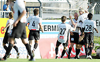 Fotball<br /> Adeccoligaen 2006<br /> Strømsgodset v Sogndal 0-1<br /> 02.07.2006<br /> Foto: Morten Olsen, Digitalsport<br /> <br /> Sogndal jubler for scoring. <br /> Christian Brink (4) - Torgeir Hoås (27) - Joel Cedergren - Mattias Eikenes - Ahyee Aye Elvis (28)