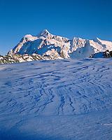 Mt. Shuksan, WA, USA.Mt. Shuksan in North Cascades National Park..From Artist Point in Mt. Baker Wilderness..Winter snow patterns, Sastrugi..Brett Baunton