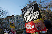 Women's March on London to coincide with the first day of Donald Trump's Presidency on January 21st 2017 in London, United Kingdom. Women-led marches, welcoming all participants, took place across the world, as people of all genders marched in London as part of an international day of action in solidarity. The march, was for the protection of fundamental rights and for the safeguarding of freedoms threatened by recent political events. Thousands of demonstrators united together for the dignity and equality of all peoples, for the safety and health of our planet and for the strength of our vibrant and diverse communities and against politics of fear.