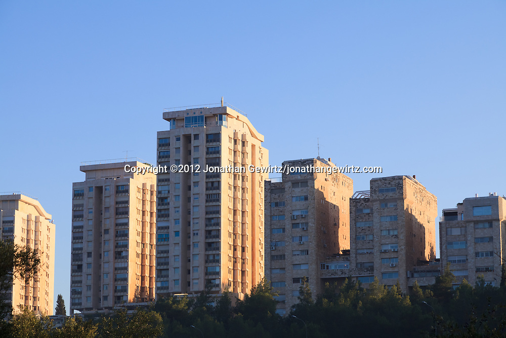 High-rise residential buildings located on the eastern slope of the Valley of the Cross near downtown Jerusalem. WATERMARKS WILL NOT APPEAR ON PRINTS OR LICENSED IMAGES.