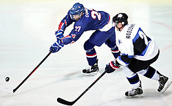 18.04.2016, Dom Sportova, Zagreb, CRO, IIHF WM, England vs Estland, Division I, Gruppe B, im Bild COWLEY Russell, ROBUSHKIN Maksim. // during the 2016 IIHF Ice Hockey World Championship, Division I, Group B, match between England and Estonia at the Dom Sportova in Zagreb, Croatia on 2016/04/18. EXPA Pictures © 2016, PhotoCredit: EXPA/ Pixsell/ Sanjin Strukic<br /> <br /> *****ATTENTION - for AUT, SLO, SUI, SWE, ITA, FRA only*****