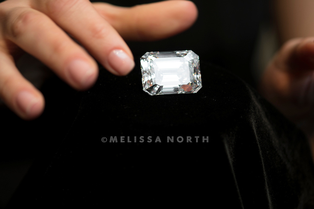 Sotheby's unveils a 100-carat perfect diamond in a classic Emerald-cut, and internally flawless, at Sotheby's, London, UK on 13th February 2015. Due to be auctioned at Sotheby's Magnificent Jewels Auction in New York on 21st April 2015, where it's estimated to sell for US$19-25 million.