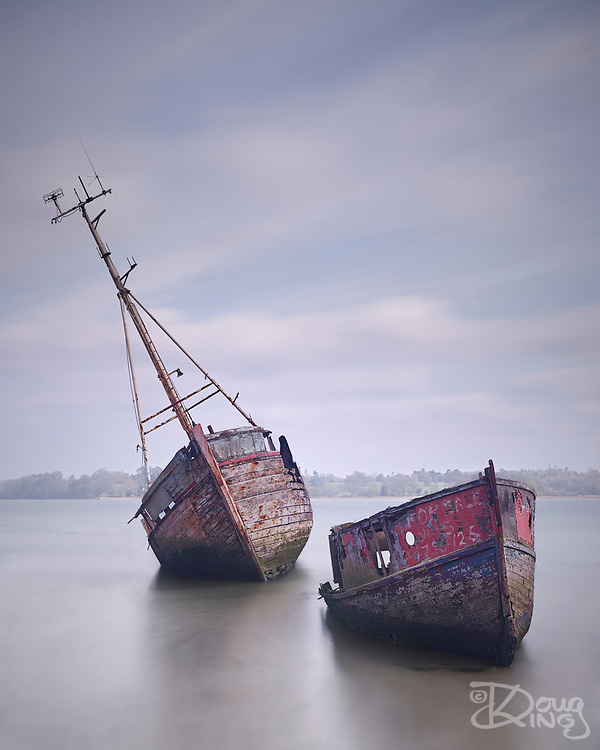 I knew that Pin Mill on the River Orwell in Suffolk was popular with photographers, but I never anticipated the sheer anarchic chaos of the riverbank. Of the many shots of houseboats and wrecks in various states of decay, I gravitated towards this well photographed pair for obvious reasons.