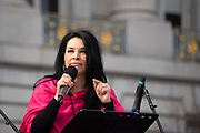 San Francisco, USA. 19th January, 2019. The Women's March San Francisco begins with a rally at Civic Center Plaza. Gilda Gonzales, CEO of Planned Parenthood NorCal (Northern California) addresses the audience. Credit: Shelly Rivoli/Alamy Live News
