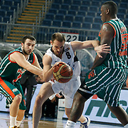Efes Pilsen's Igor RAKOCEVIC (C) during their Turkish Basketball league match Efes Pilsen between Banvit at the Sinan Erdem Arena in Istanbul Turkey on Saturday 02 April 2011. Photo by TURKPIX