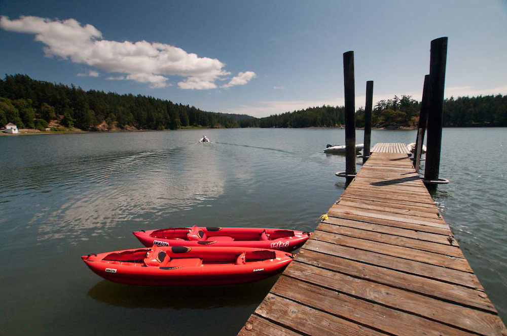 Kayaks and Dock at Bell Point, English Camp, San Juan Island, Washington, US