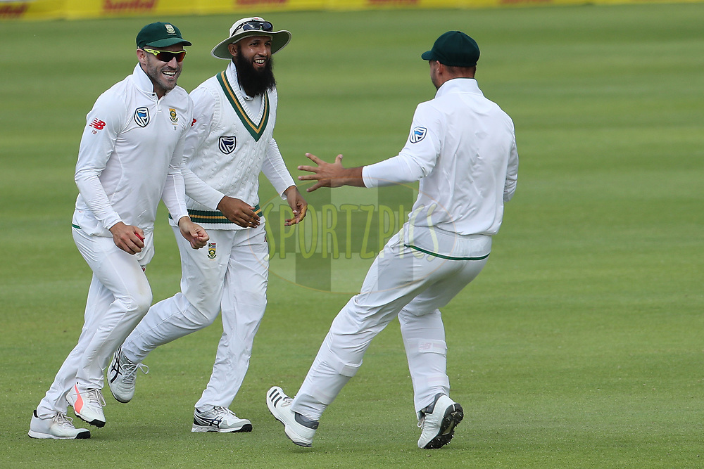 Faf du Plessis(c) of South Africa celebrates the win during day four of the first Sunfoil Test match between South Africa and India held at the Newlands Cricket Ground in Cape Town, South Africa on the 8th January 2018<br /> <br /> Photo by: Ron Gaunt / BCCI / SPORTZPICS