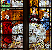 Sixteenth century stained glass windows inside church of Saint Mary, Fairford, Gloucestershire, England, UK - window 8 detail Jesus Christ appearance at Emmaus