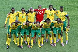 11-06-2010 VOETBAL: FIFA WORLDCUP 2010 ZUID AFRIKA - MEXICO: JOHANNESBURG<br /> De openingswedstrijd van het WK heeft geen winnaar opgeleverd.<br /> Begeleid door de sonore klank van de vuvuzela's op de tribunes in Johannesburg speelden Zuid-Afrika en Mexico met 1-1 gelijk / Teamfoto Zuid Afrika<br /> ©2010-FRH- NPH/  Vid Ponikvar (Netherlands only)