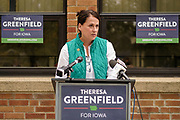29 SEPTEMBER 2020 - DES MOINES, IOWA: THERESA GREENFIELD, Democratic candidate for the US Senate from Iowa, at a press conference at IBEW offices in Des Moines. She talked about her plan to help Iowa recover from the COVID-19 pandemic. The plan includes expanding COVID testing, better access to health care, directing more assistance to workers, and rebuilding the economy.      PHOTO BY JACK KURTZ