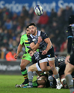 Rhys Webb of the Ospreys in action. European Rugby Champions Cup, pool 2 match, Ospreys v Northampton Saints at the Liberty Stadium in Swansea, South Wales on Sunday 17th December 2017.<br /> pic by  Andrew Orchard, Andrew Orchard sports photography.