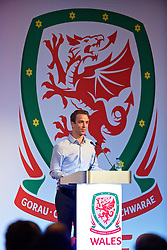 NEWPORT, WALES - Sunday, May 22, 2016: Ryan Alexander delivers a presentation 'Management of fatigue in a large formatted tournament' during the Football Association of Wales' National Coaches Conference 2016 at the Celtic Manor Resort. (Pic by David Rawcliffe/Propaganda)