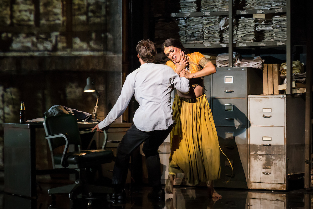 """LONDON, UK, 17 October, 2016.  Jacques Imbrailo (left, as """"Zurga"""") and Claudia Boyle (right, as """"Leila"""") rehearse for the revival of director Penny Woolcock's production of Bizet's opera """"The Pearl Fishers"""" at the London Coliseum for the English National Opera.  The production opens on 19 October."""