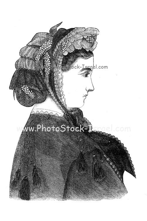Fashionable Bonnets 1864 from Godey's Lady's Book and Magazine, December, 1864, Volume LXIX, (Volume 69), Philadelphia, Louis A. Godey, Sarah Josepha Hale,