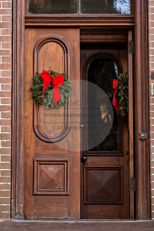Christmas wreath on door in historic Savannah, GA.