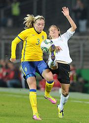 26.10.2011, Millerntor-Stadion, Hamburg, GER, FSP, Deutschland vs Schweden, im Bild Linda Sembrant (Schweden #3), Martina Müller / Mueller (Deutschland #16)..// during the friendly match Deutschland vs Schweden on 2011/10/26, Millerntor-Stadion, Hamburg, Germany..EXPA Pictures © 2011, PhotoCredit: EXPA/ nph/  Frisch       ****** out of GER / CRO  / BEL ******