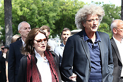 Anouk Aimee , Elie Chouraqui attending the funeral ceremony of French designer Sonia Rykiel at the Montparnasse cemetery in Paris, France on September 1, 2016. The 86 years old pioneer of Parisian womenswear from the late 1960's onwards, has died from a Parkinson's disease-related illness. Photo by ABACAPRESS.COM
